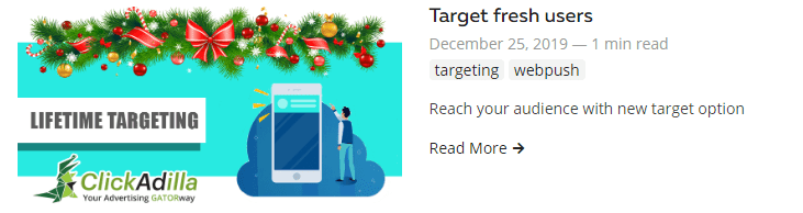 target fresh subscribers push notifications clickadilla